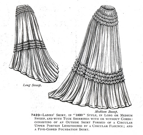 "Ladies' Skirt in ""1830"" Style No. 7423"