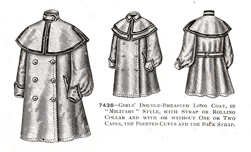 Girls' Double-Breasted Long Coat No. 7436