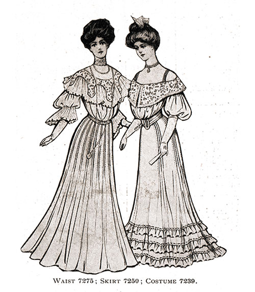 Evening Gowns 7275, 7250 and 7239 - 1904
