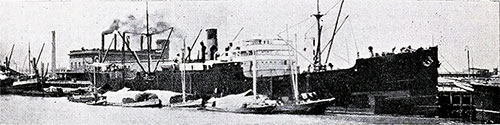 "he Canadian Government Merchant Marine Ship SS ""Canadian Ranger"" at Buenos Aires circa 1920."
