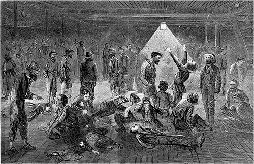 "Horrors of the Emigrant Ship -- Scene in the Hold of the ""James Foster, Jr."" - 1869."