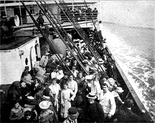 First Cabin Passengers Find Amusement in Watching the Crush of Steerage Passengers below.