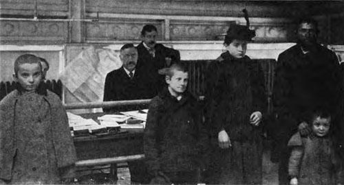 Before the Board of Inquiry. A Russian Jew And Part of His Family of Eight.