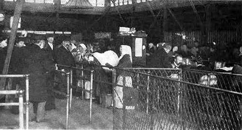A Line of Immigrants at the Last Gate of The Barge Office.