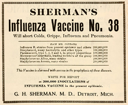 Sherman's InfluenzaVaccine No. 38.
