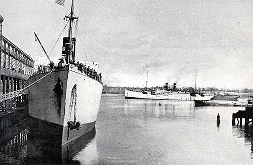 Mediterranean Steamships at the Port of Providence State Pier in 1915.
