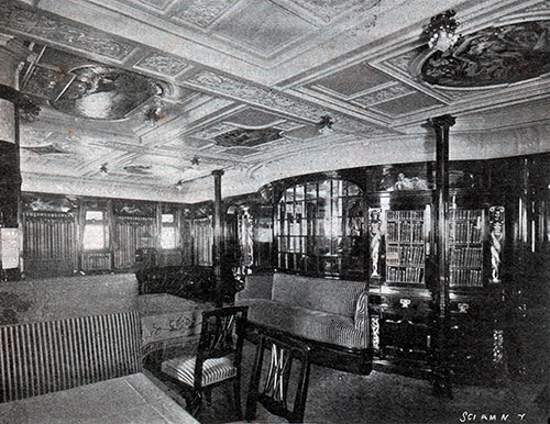 Library and Reading Room on the Kronprinz Wilhelm.