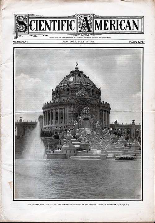 Front Page of the Scientific American for 16 July 1904
