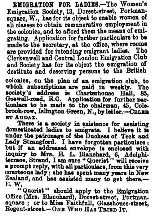 Emigration for Ladies. Clipping from The Bazaar, The Exchange and Mart, 26 October 1883.