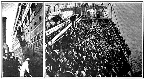 Come Aboard (left) and a Typical Crowd of Immigrants.