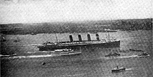 The Lusitania Passing Hoboken on her Maiden Voyage.