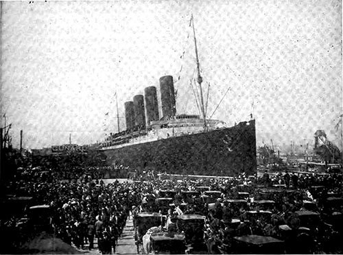 "The Lusitania is ""Back From Europe,"" Waiting to Welcome Returning Tourists."