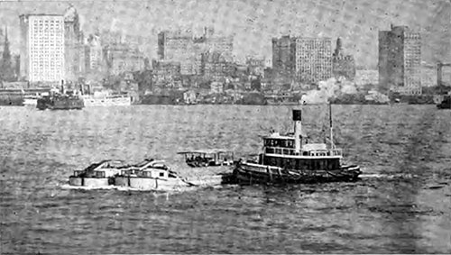 Tugboats in New York Harbor.