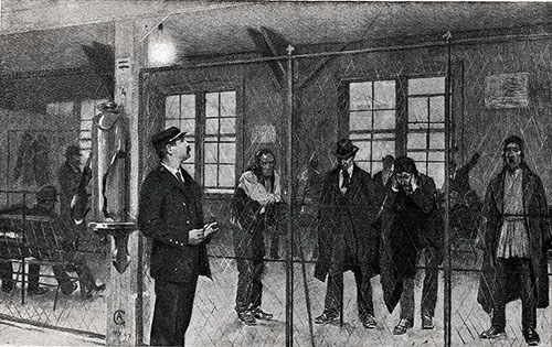 Immigrants Await Deportation in the Deported Pen at Ellis Island.