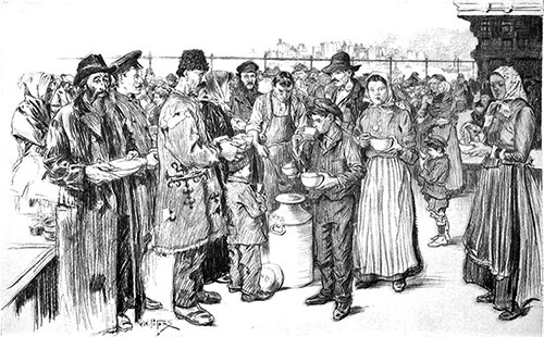 Immigrants Landing at Ellis Island, Serving Soup on the Roof Garden.