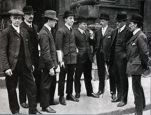 Officers and Crew from the S.S. Californian Waiting to Give Testimony During the British Inquery to the Titahic Disaster.
