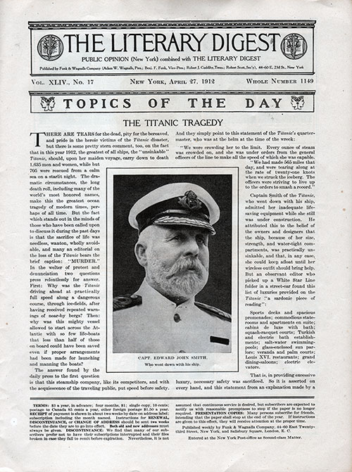 Topics of the Day: The Titanic Tragedy in The Literary Digest, Vol. XLIV, No. 17, Whole No. 1149, 27 April 1912, p. 865.