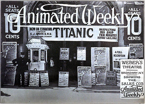 Theater Display for the Film Featuring Captain Smith of the RMS Titanic with 'Animated Weekly' Overlay