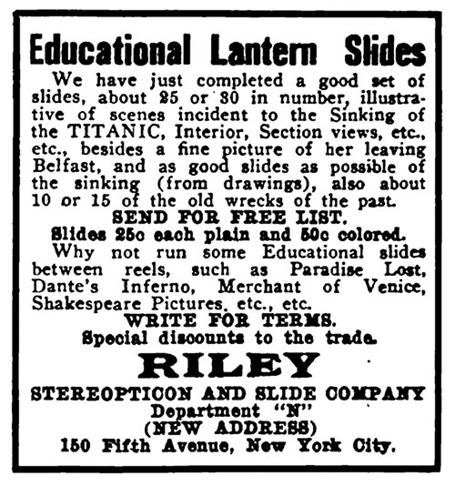 Advertisement for Educational Lantern Slides of the Titanic from Riley Stereopticon and Slide Company