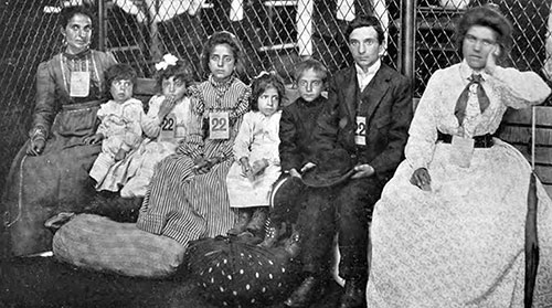 A Typical Italian Immigrant Family at Ellis Island.