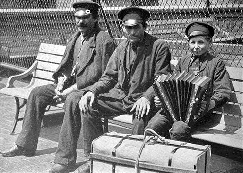 Peasants from Norway on the Roof at Ellis Island Awaiting Deportation.