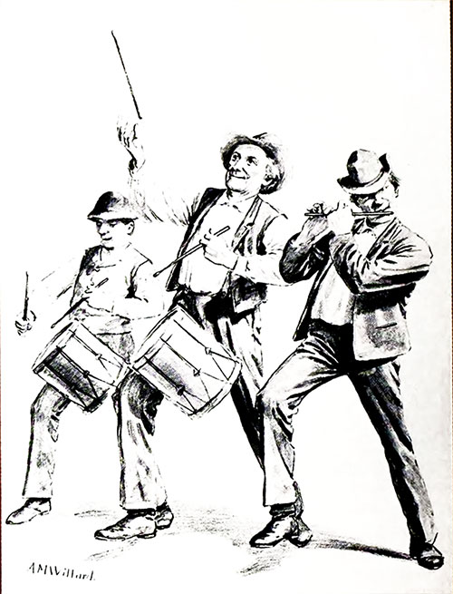 "Willard's original humorous drawing, which he sketched on the back of an envelope and called ""The Fourth of July Musicians"" or ""Yankee Doodle,"" is in The Wellington Collection."