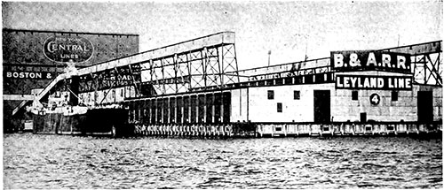 One of the Big Steamship Piers of the Port of Boston Connecting with the New York Central Lines and Boston & Albany Railroad.