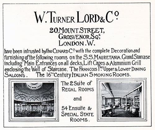 Advertisement - W. Turner Lord & Co., RMS Campania Cunard Daily Bulletin for 24 January 1908.