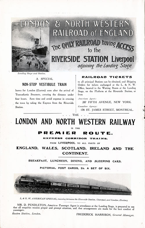 Advertisement - London & Northwestern Railroad, RMS Campania Cunard Daily Bulletin for 24 January 1908.