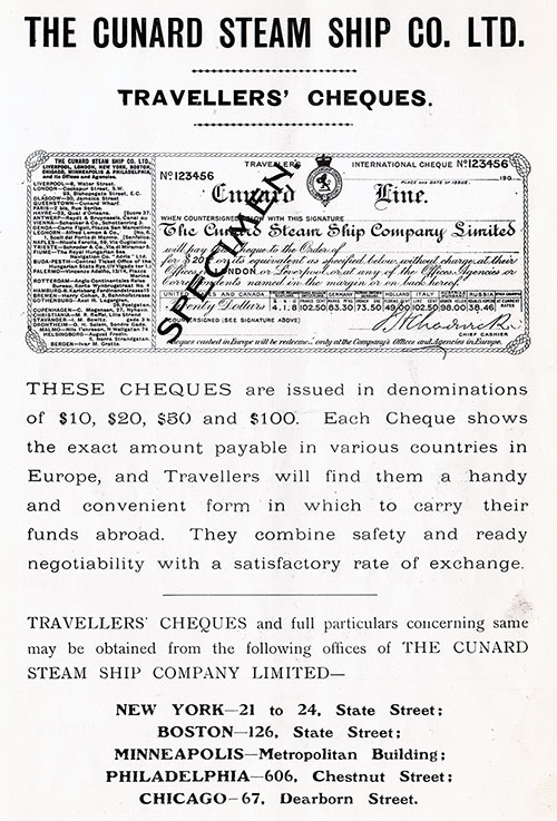 Advertisement - Cunard Travellers' Cheques, RMS Campania Cunard Daily Bulletin for 24 January 1908.