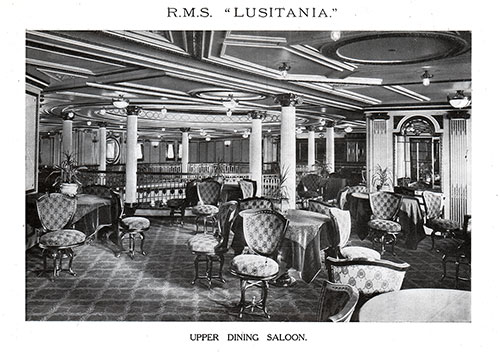 Upper Dining Saloon on the RMS Lusitania of the Cunard Line.