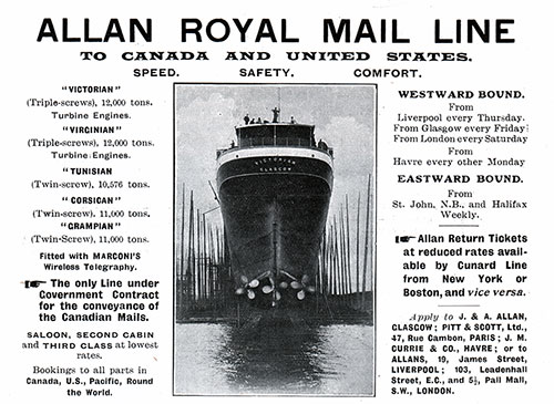 Advertisement - Allan Royal Mail Line, RMS Campania Cunard Daily Bulletin for 24 January 1908.