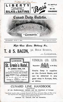 Front Page, RMS Carmania Onboard Publication of the Cunard Daily Bulletin for 7 June 1908.