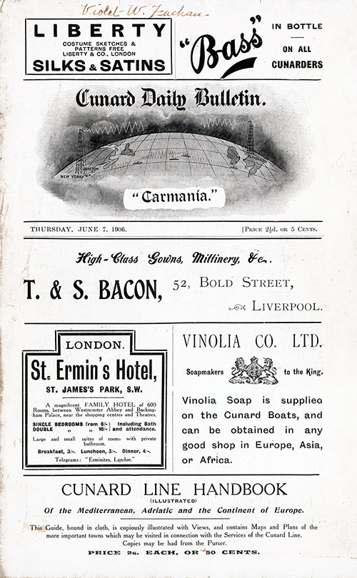 Front Page, RMS Carmania Onboard Publication of the Cunard Daily Bulletin for 7 June 1906.