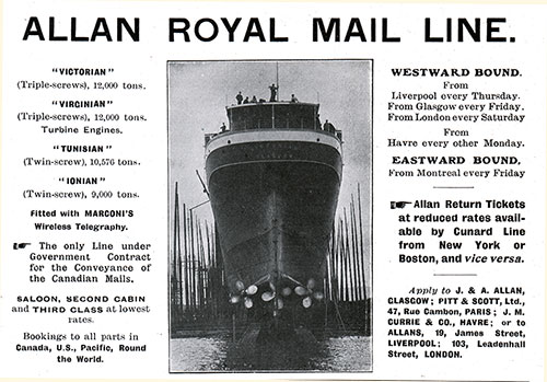 Advertisement - Allan Royal Mail Line, RMS Carmania Onboard Publication of the Cunard Daily Bulletin for 7 June 1906.