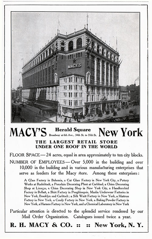 Advertisement - R. H. Macy & Co., RMS Carmania Onboard Publication of the Cunard Daily Bulletin for 7 June 1906.