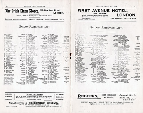 Saloon Passenger List, RMS Carmania Onboard Publication of the Cunard Daily Bulletin for 7 June 1906.