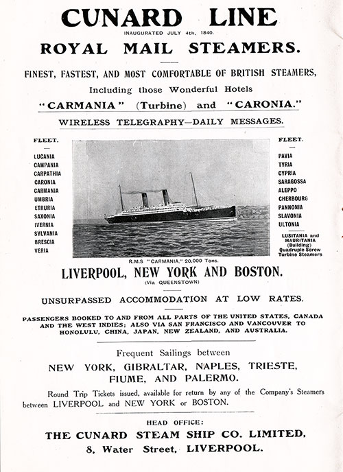 Advertisement - Cunard Line, RMS Carmania Onboard Publication of the Cunard Daily Bulletin for 7 June 1906.
