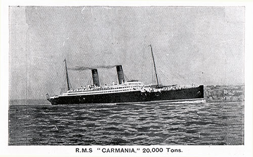 RMS Carmania, 20,000 Tons. Passenger Liner of the Cunard Line.