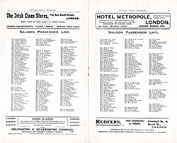 Saloon Passenger List included in the 11 September 1908 Etruria Edition of the Cunard Daily Bulletin.