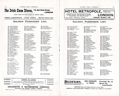 Cunard Daily Bulletin Excerpt of Saloon Passenger List from the RMS Etruria of the Cunard Line.