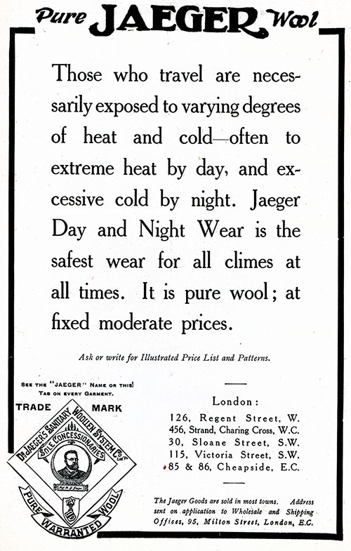 Pure Jaeger's Wool - 1906 Advertisment