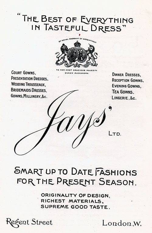 1906 Advertisement - Jays' Limited of London