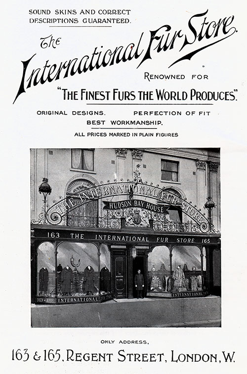 The International Fur Store of London - Print Ad 1906