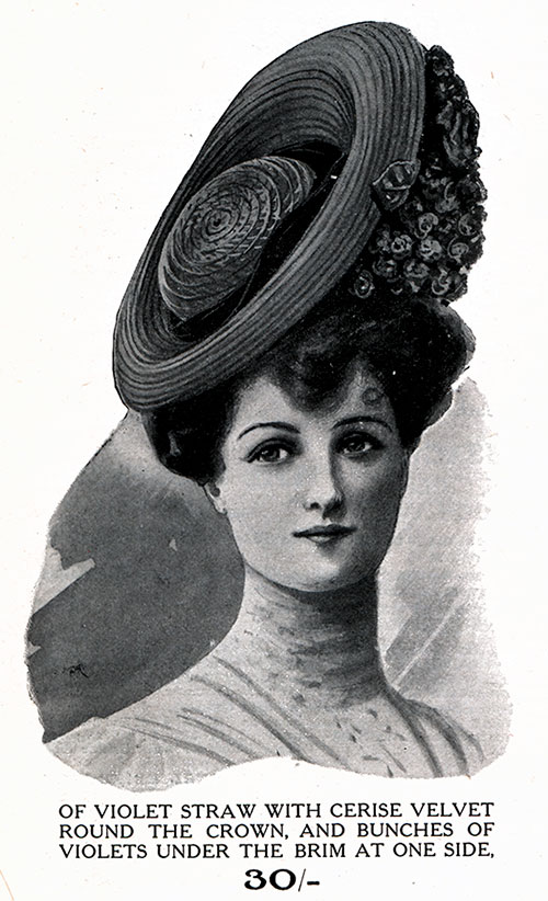 Photograph Inset of woman modeling an exquiste Parisian Hat of Violet Straw  with Cerise Velvet Round eef632a713b