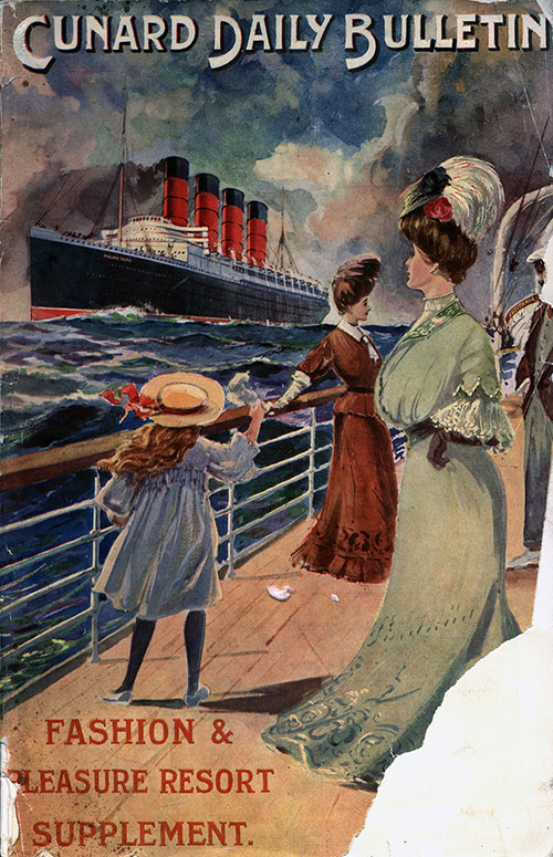 Front Cover of the Cunard Daily Bulletin Fashion & Pleasure Resort Supplement for 1907