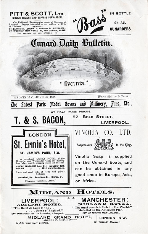 Front Page of the Cunard Daily Bulletin, RMS Ivernia Edition for Wednesday, 28 June 1905.
