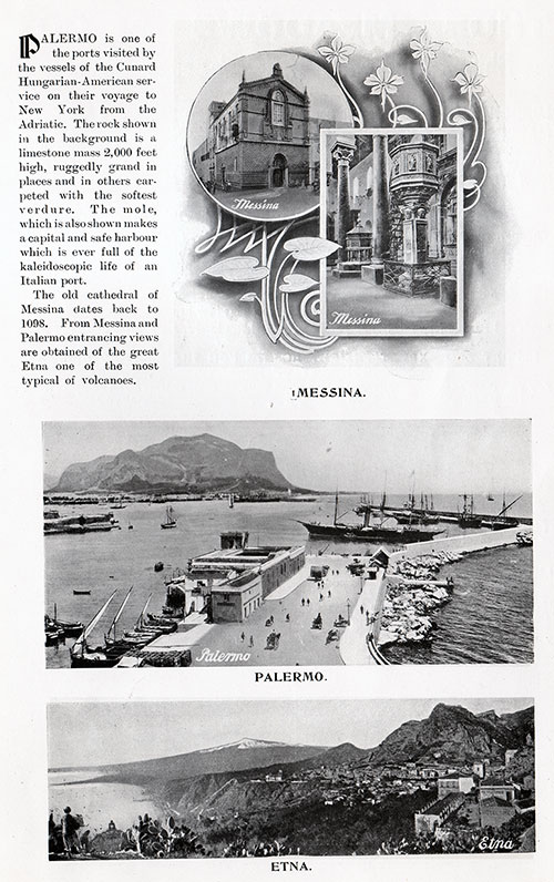 Palermo and Surronding Area from the Cunard Daily Bulletin, RMS Ivernia Edition for Wednesday, 28 June 1905.