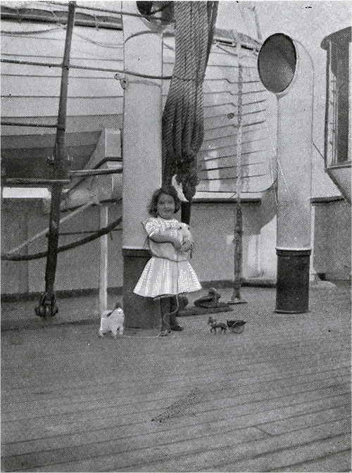 Young Girl on Deck of a Cunard Steamship