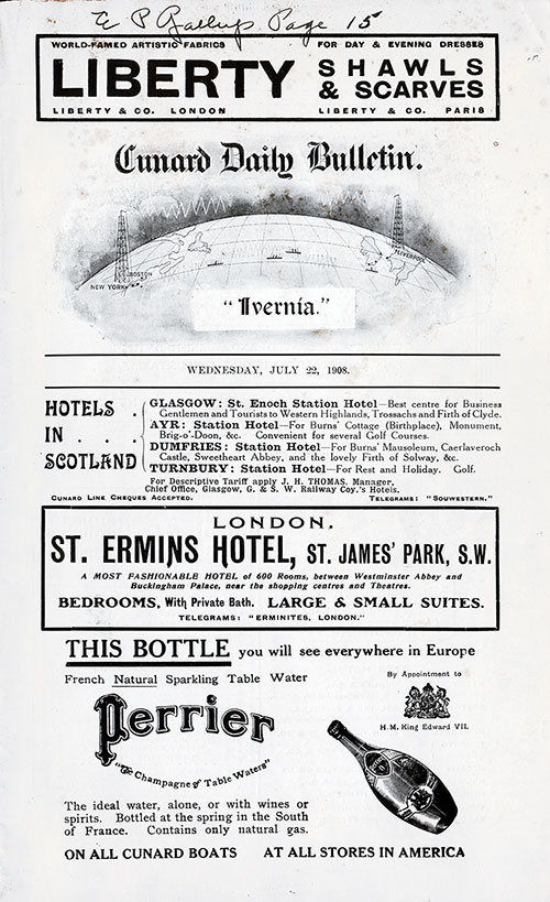 Front Page, SS Ivernia Onboard Publication of the Cunard Daily Bulletin for 22 July 1908.